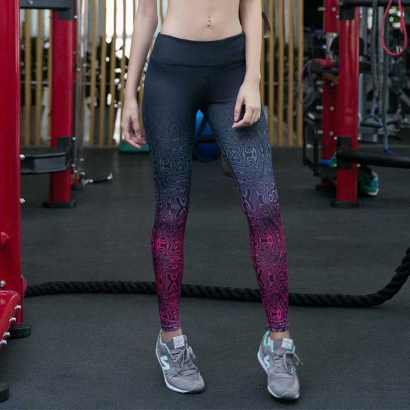 cd9dff9d5e 2019 2019 Women Printed Sport Pants High Waist Yoga Gym Leggings Running  Tights Workout Fitness Compression Girl Pencil Pants Male Outside Wear From  Maxluxe ...