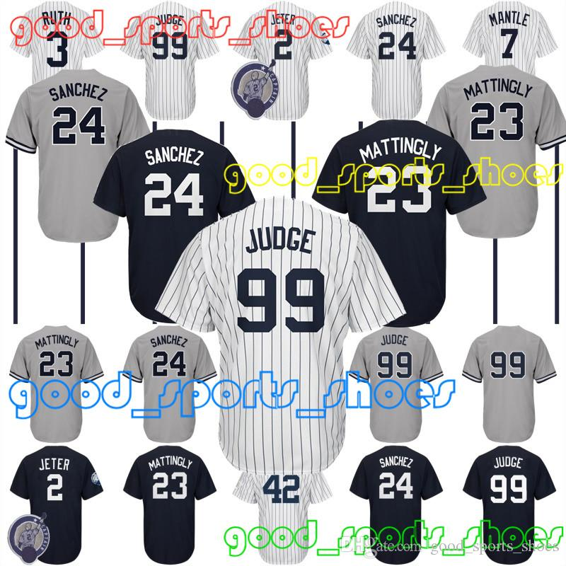 2019 99 Aaron Judge Jerseys New York Yankees Jersey 2 Jersey 23 Don  Mattingly Jerseys 3 Babe Ruth Jersey 42 Mariano Rivera From  Good sports shoes 34057185f2a