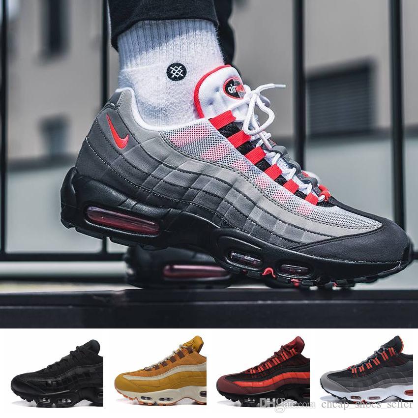 separation shoes 6fd9c 4e161 Nike Air Max 95 Sneakers 2019 Nuevo Air Men Casual Zapatillas De Running 95  Negro Oro Rojo 95 S Chaussures Blanco Diseñador Entrenador Deportes Para  Hombre ...