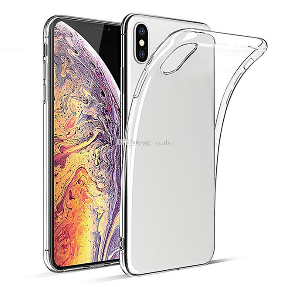For iPhone X XR XS Max Ultra Thin Shockproof Clear TPU Case 1.0MM Soft TPU Transparent Back Cover For iPhone 8 7 6 Plus Samsung S9 Note 9