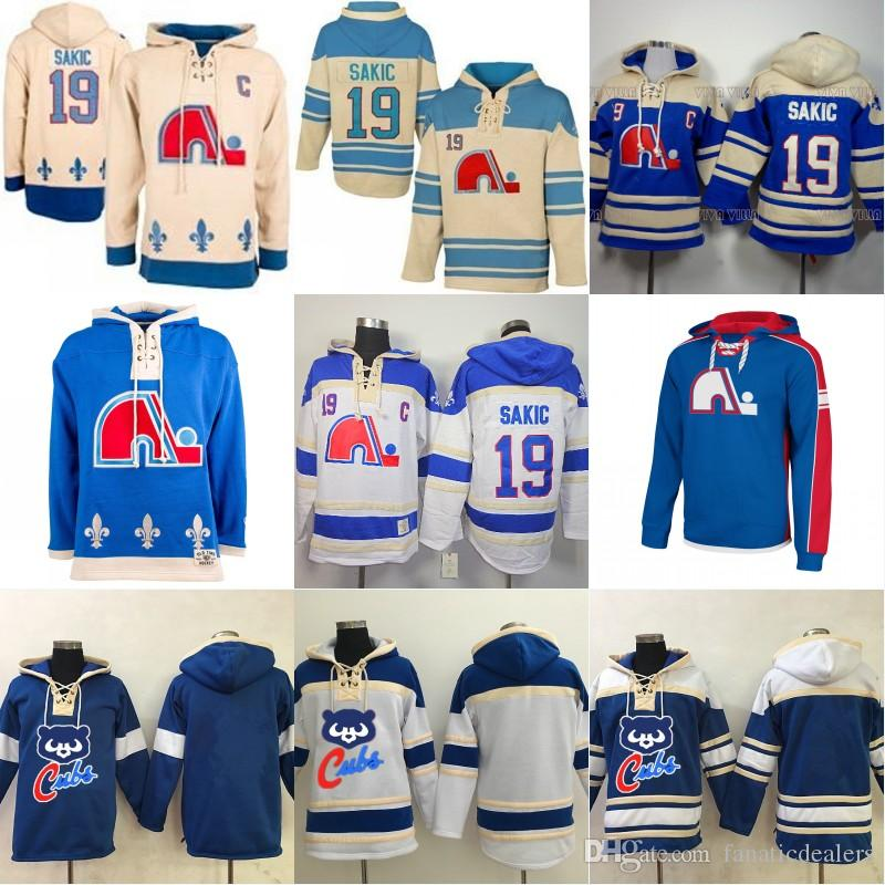 2019 Quebec Nordiques Joe Sakic 19 Hooded Jersey Stitche Men S Ice Hockey  Jersey Hoodies Sports Sweater S 3XL From Fanaticdealers 22d874b79