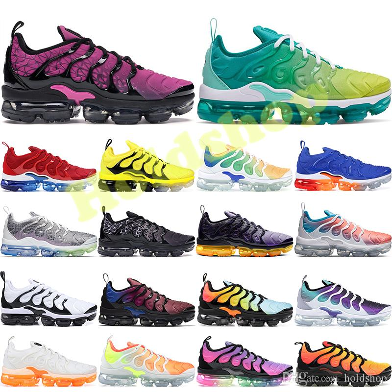 Nike Vapormax Plus TN Bumblebee Plus Tn Laufschuhe Herren Rainbow Lemon Lime USA Wolf Grau Be True Grape Triple Schwarz Weiß Damen Designer Schuhe Sneakers 36-45