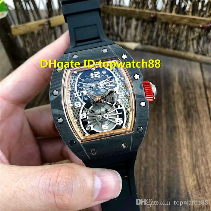 2019 New 022 Mens Wristwatches Swiss Automatic Mechanical Sapphire Crystal Carbon Fiber Case openworked Dial Rubber strap Mens Watch