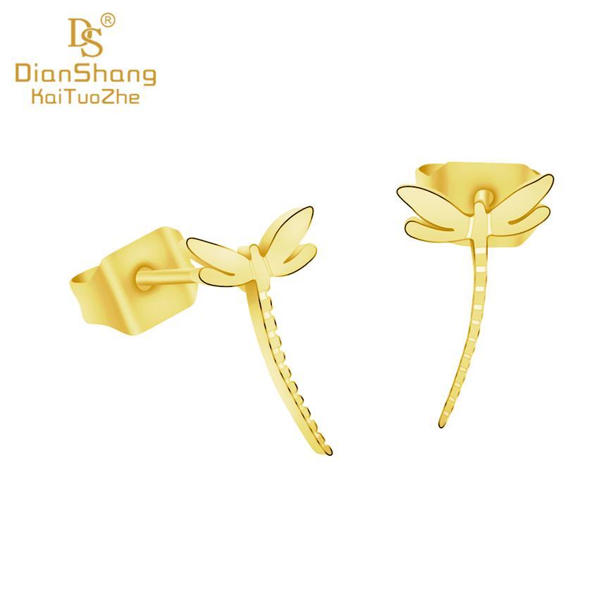 d490c8689f3b Compre SJE432 Tiny Dragonfly Charm Stud Pendientes Mujer Joyería De Acero  Inoxidable School Girls Regalo De Cumpleaños De Oro Brinco Feminino 2019 A   33.82 ...