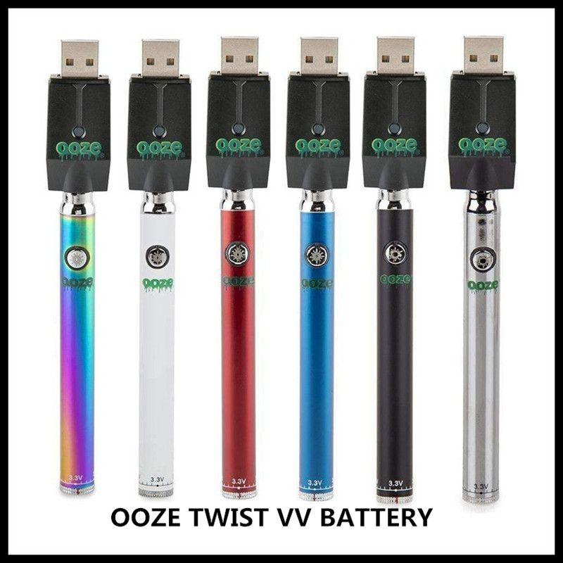 Hot OOZE TWIST VV BATTERY 320mah Adjustable Vape Pen Fit 510 Thread  Cartridges Bottom Voltage Adjustable Preheat Battery with Blister Box