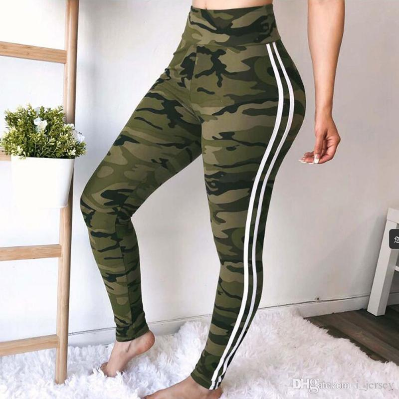 2019 2018 Women Camo Print Skinny Yoga Pants Plus Size White Striped  Camouflage Sport Trousers High Waist Running Sweatpants Push Up  208115  From I jersey adb45cd667ad