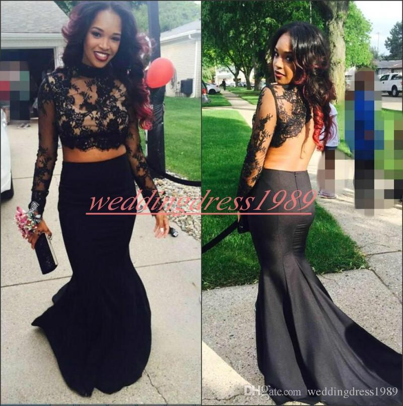 Sexy Pizzo 2019 Prom Dresses a Sirena Backless Due Pezzi a maniche lunghe Juniors Abito da sera African Party Abiti formali Robe De Soiree Cocktail