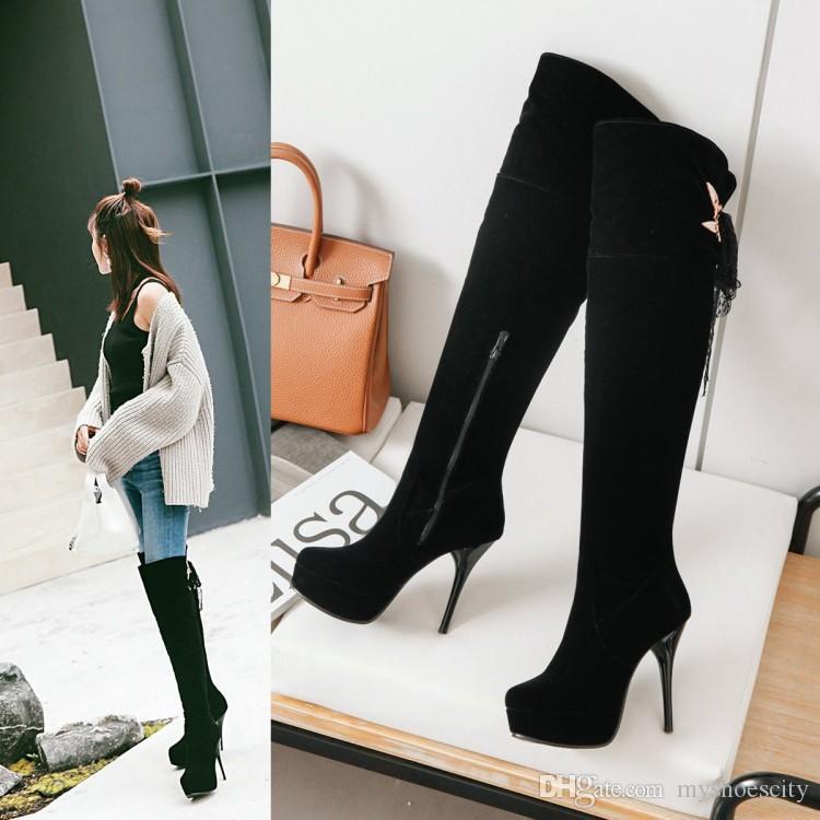 plus la taille 31 à 47 48 dames sexy plate-forme haut dentelle talon haut sur le genou Cuissardes design de luxe bottes femmes
