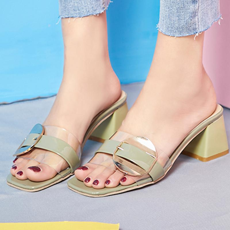 2019 Summer Slippers Outdoor Square Heels Ladies Shoes Women Beach Sandals Women Slides Open Toe Slip On Shoes zapatillas mujer