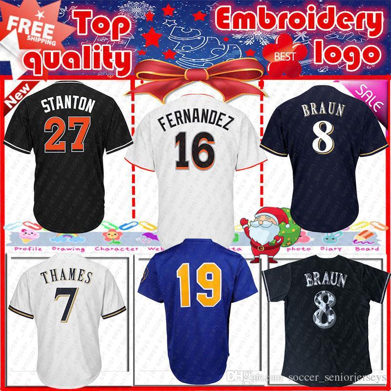 online store 38c66 83f00 Miami 16 Jose Jersey Marlins Fernandez 27 Stanton men s Baseball Jerseys  Hot Sale Jersey 18/19 New 100% Stitched shirt