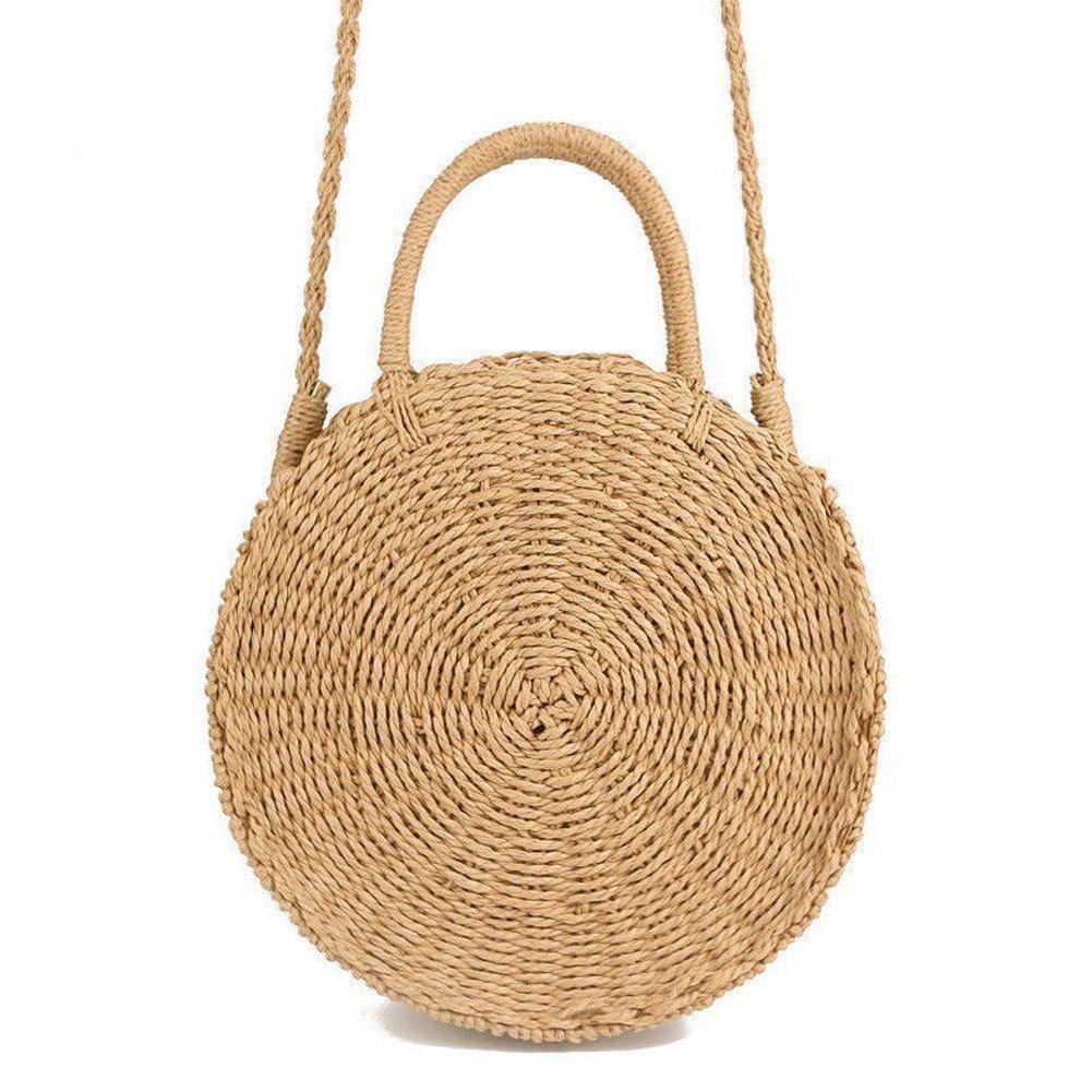 Designer Women Woven Round Rattan Straw Bag Bali Bohemian Beach