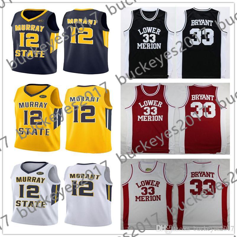 797f2d09e9d 2019 NCAA Murray State Racers 2019  12 Ja Morant Jersey Lower Merion  33  Bryant Retro LA Kobe Vintage High School Basketball White Black Red From ...