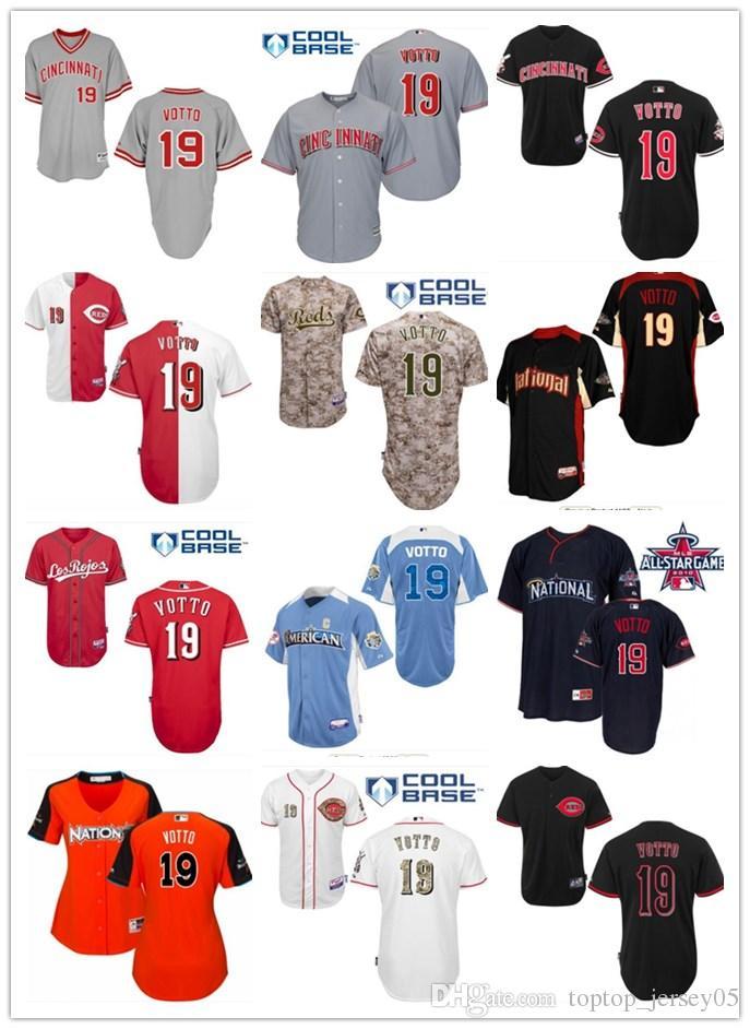 e9a9133b 2018 top Cincinnati Reds Jerseys #19 Joey Votto Jerseys men#WOMEN#YOUTH#Men's  Baseball Jersey Majestic Stitched Professional sportswear