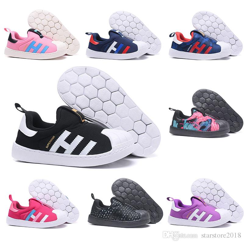 Kids Designer Shoes Superstar Boy Girl Luxury Sneakers Black Blue Pink Red Black Point Purple Cheap Children Casual Sports Shoes Size 22-35