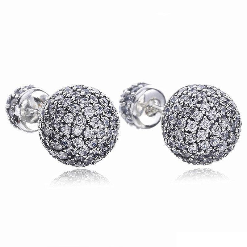 e7107c001 2019 925 Sterling Silver Earrings CZ Pave Drops Water Double Ball Earring  Fit Pandora Charms Jewelry Stud Earring Top Quality With Box From  Oem_sunglasses, ...