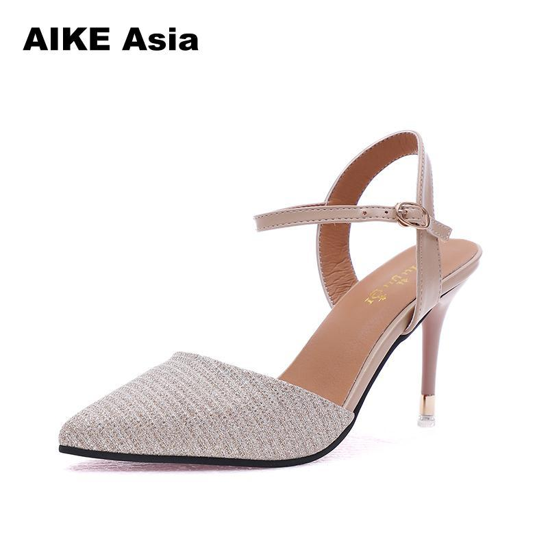 2019 Dress 2018 Women Concise Fashion Ankle Strap Shoes Woman Pointed Toe  Thin Heels Women S Buckle Slingbacks Pumps High Heels Mens Shoes Online  Mens Dress ... fabf795def