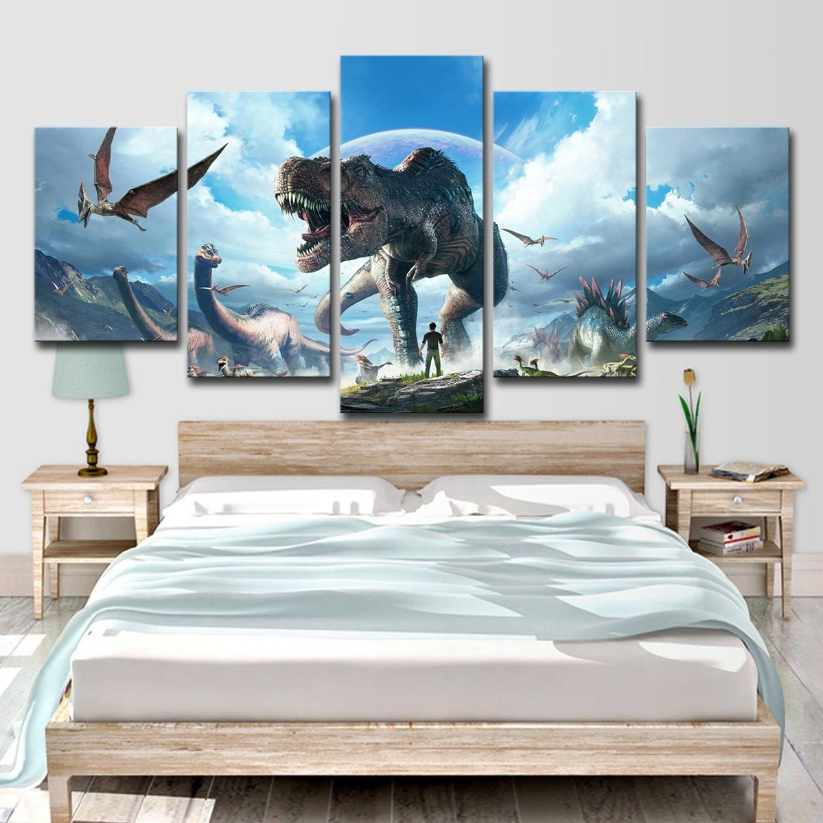 5pcs jurassic park dinosaurs wall art hd print canvas painting fashion hanging pictures home decor