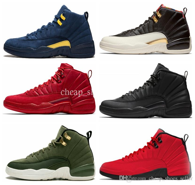 best service f88d9 3d89e 2019 New 12s Classic 12 basketball shoes gym red CNY black white WNTR the  master flu game wings blue wolf grey sneakers 40-46
