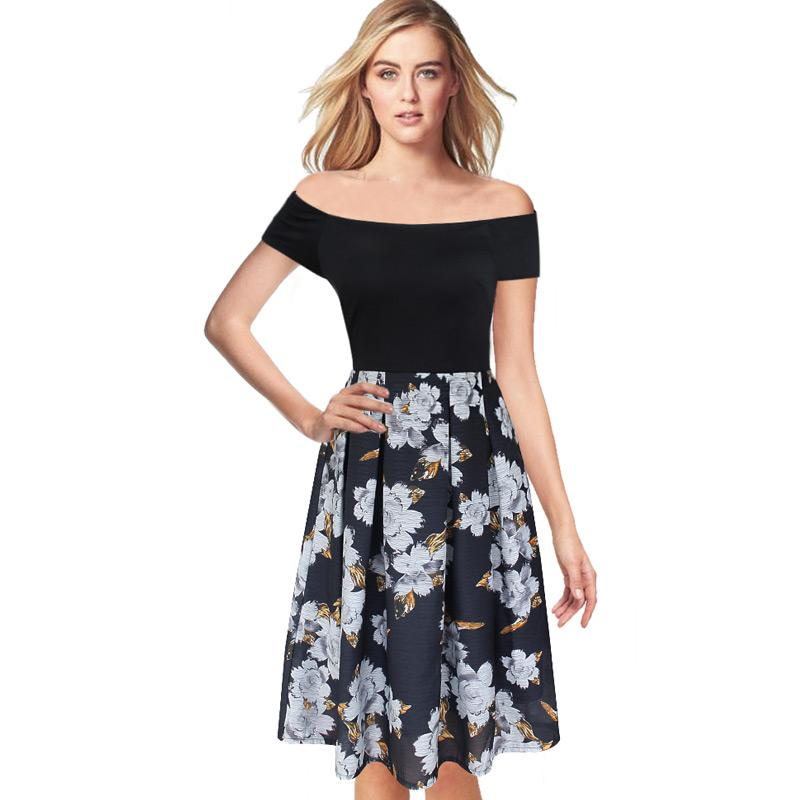 c7016ea137229 Womens Elegant Vintage Floral Flower Print Tunic Work Office Casual Fit and  Flare Party A-Line Skater Dress