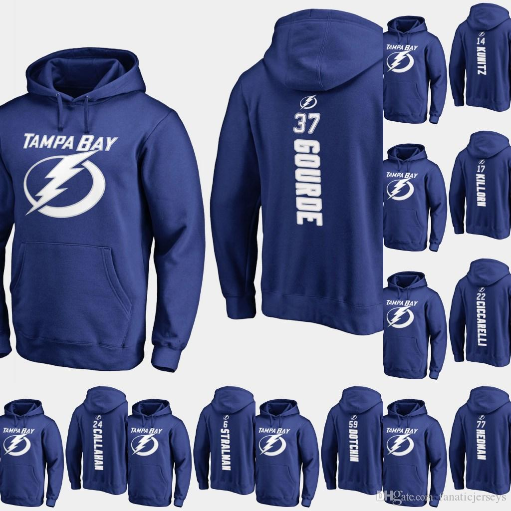 cda7d5667 Tampa Bay Lightning Hoodie 37 Yanni Gourde 81 Erik Cernak 55 Braydon Coburn  70 Louis Domingue Personalized Custom Hockey Sweatershirt Jersey Tampa Bay  ...