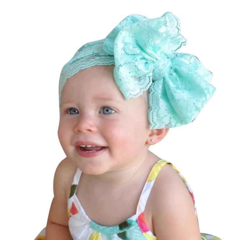 Fashion Girls Lace Big Bow Hair Band Baby Head Wrap Band Accessories New Colorful Boho Newborn Toddler Jan26