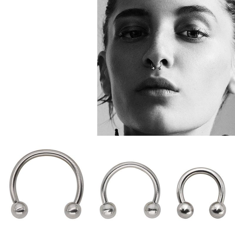 QCOOLJLY 1 PC Fashion Circular Horseshoe Ring Nose Hoops Ring And Septum Rings Tragus Piercing Body Jewelry Women Men Wholesale