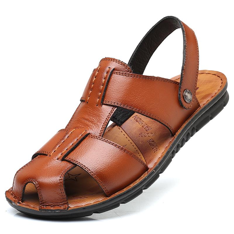 6b92a7190b2f Pop Nice Big Size Men Sandals Summer British Fashion Man Genuine Leather  Beach Shoes Men Massage Non Slip Large Slippers Flats Reef Sandals Gold  Shoes From ...