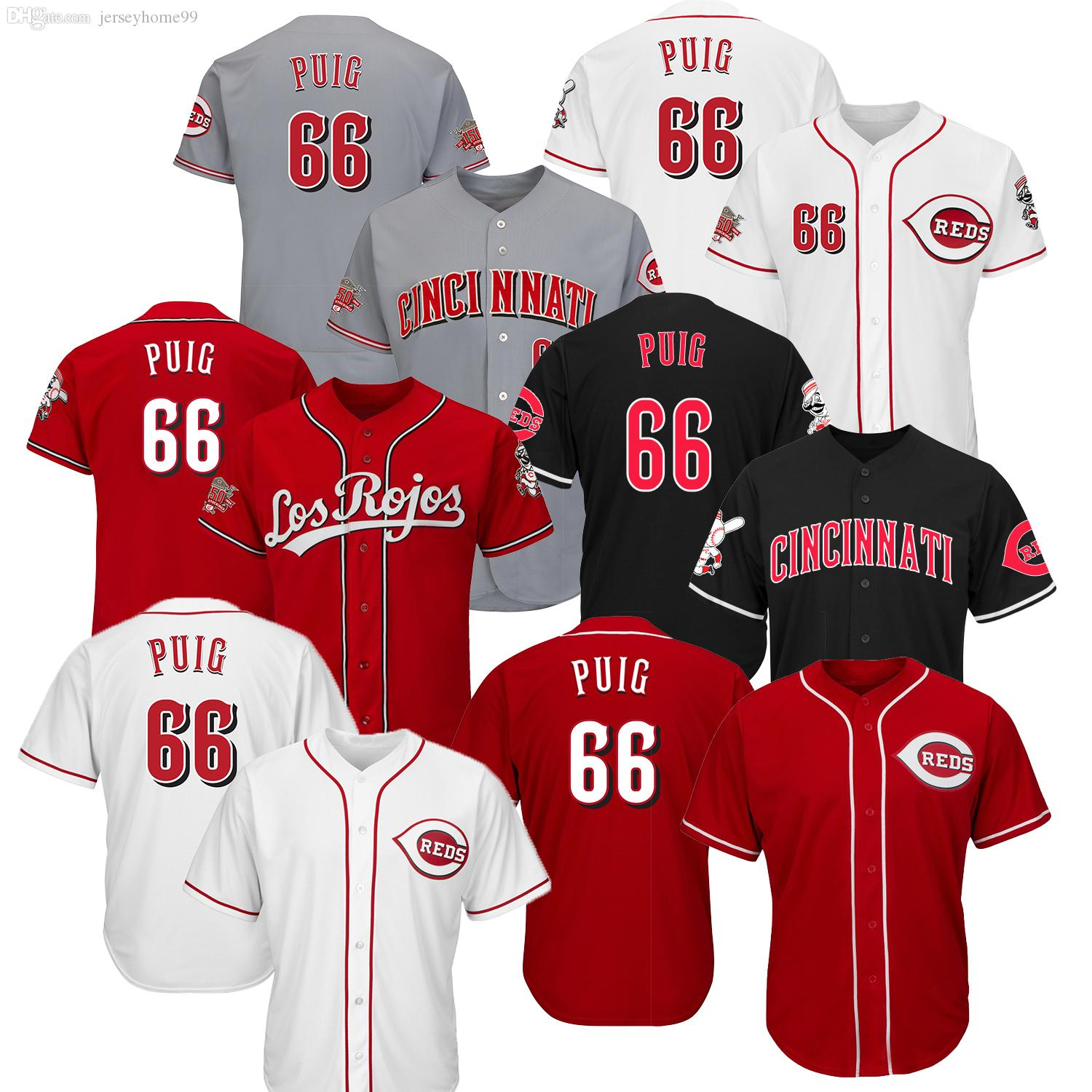2019 Mens Spring Training 150th Cincinnati Reds Baseball Jersey 66 Yasiel Puig  Jerseys Gray White Red 66 Yasiel Puig Online with  37.87 Piece on ... 98c5d3a7720