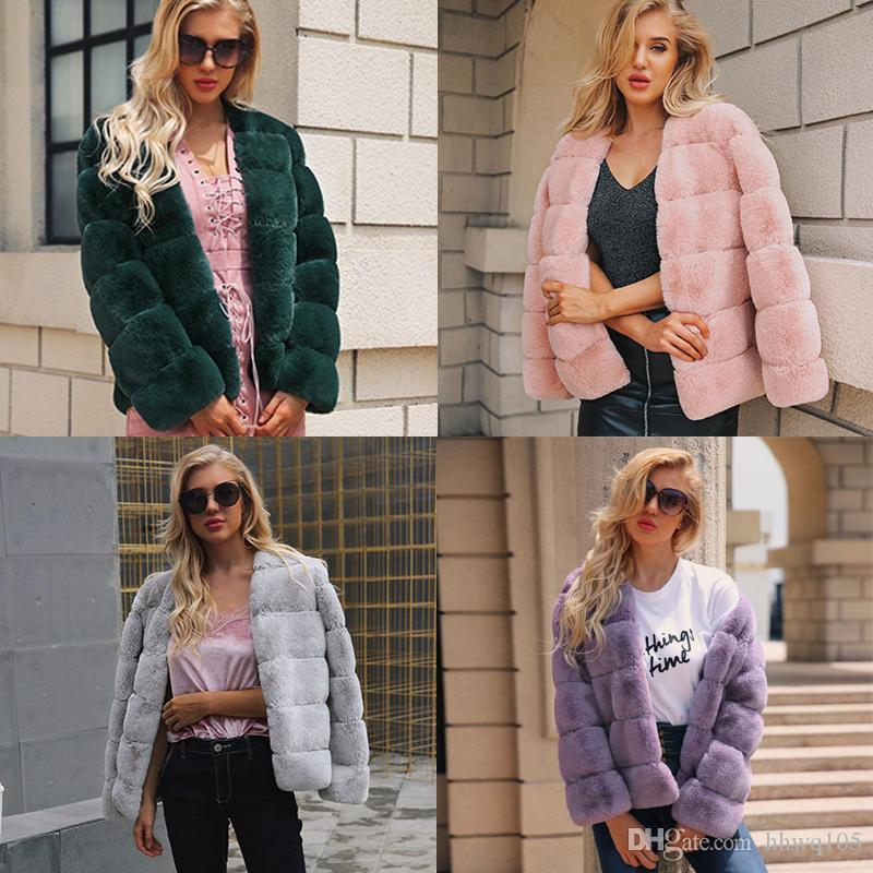c41ff80a72 2019 High Quality Women Faux Fur Coat Jacket Long Sleeve V Neck Cardigan Coat  Winter Warm Fur Parka Outerwear Plus Size Clothing CJH1108 From Hhwq105, ...