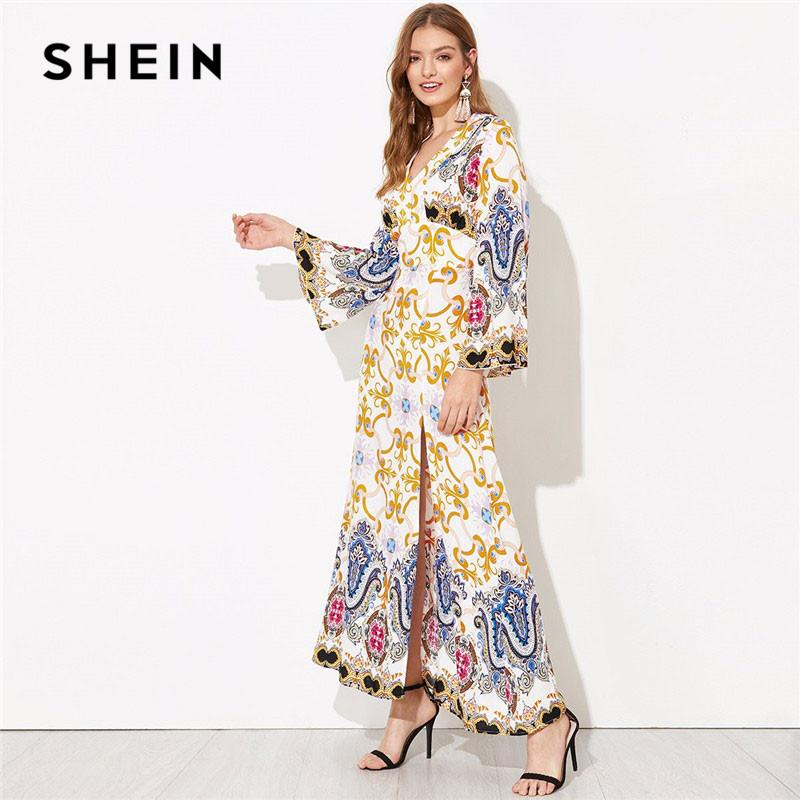6d5a429396 SHEIN Cut Out Back Bell Sleeve Slit Hem Damask Party Dress Modern Lady Sexy  Backless V Neck Spring Women Maxi Dresses Party Dresses Online Day Dresses  From ...
