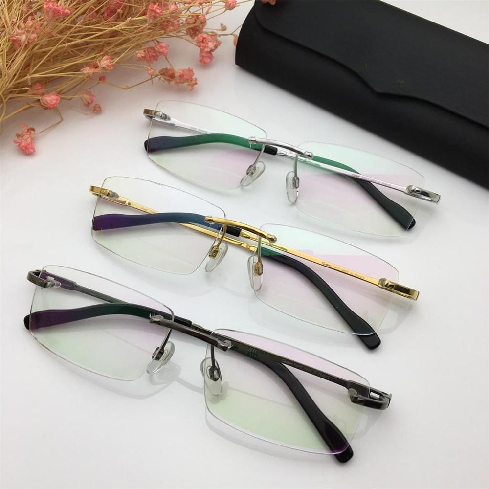 c5c3366a9a7 2019 2019 Luxury Designer Glasses Famous Men Rimless Eyeglasses High Quality  Titanium Rectangle Eyewear For Business Leisure With Retail Box From ...