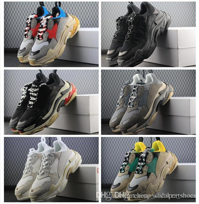 cad59a7a1 BL Triple S 17FW Sneakers For Men Women Running Shoes Vintage Kanye West  Old Grandpa Trainer Sneaker Fashion Shoe Outdoor Boots Size 36 46 Sport  Shoes Mens ...