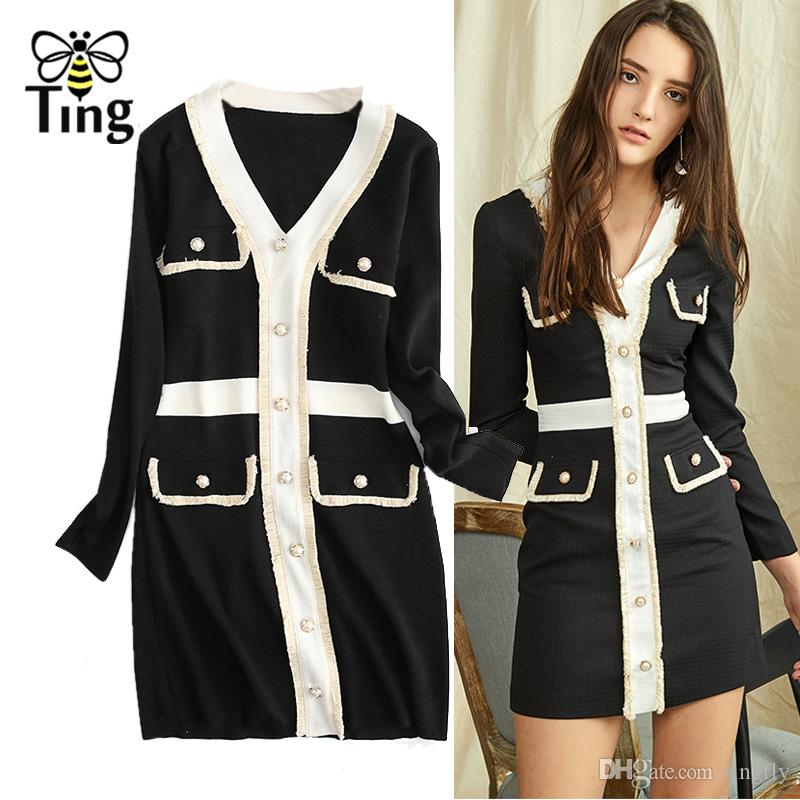 Tingfly 2020 Designer Runway Tricoté Mini Robe Col En V Color Block Bouton Décoratif À Tricoter Gaine Moulante Mini Robe Casual
