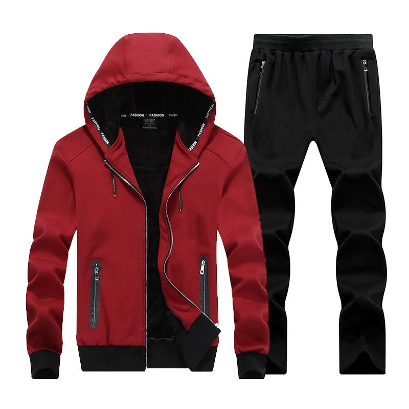 2019 Men New Fashion Zipper Male Hooded Suit Cool Large Size 7x 6xl 8xl Men Hood Mens Tracksuit Leisure Mens Sporting Set