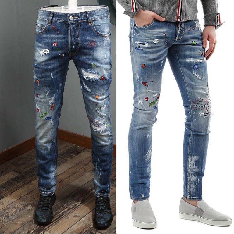 9fad370fef Compre Homens Sexy Torção Impresso Low Rise Jeans Fly Fly Desgastado Efeito  Vintage Denim Calças Graffiti Estilo De Bigget