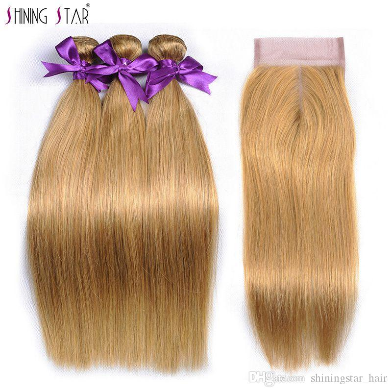 Human Hair Weaves T1b 27 Honey Blonde Ombre 3 Brazilian Straight Hair Bundles With Closure Human Hair Weave With Closure Shiningstar Non Remy Hair