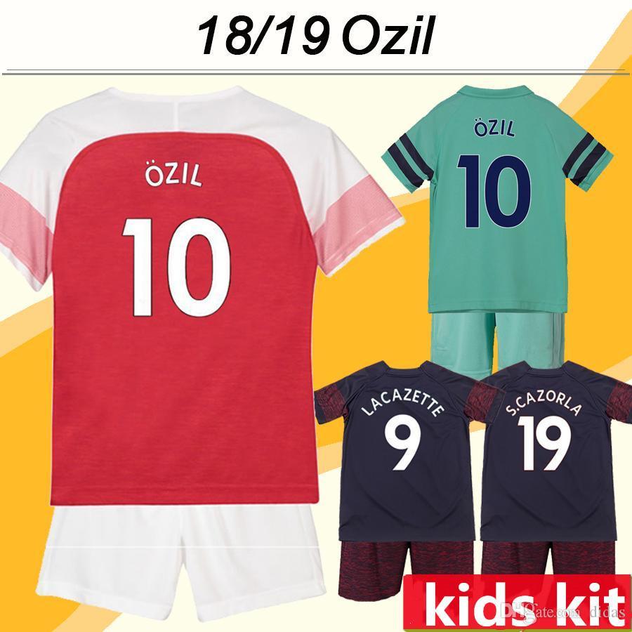 754d29f4a 18 19 OZIL Kid Kit Soccer Jerseys RAMSEY LACAZETTE KOSCIELNY Home ...