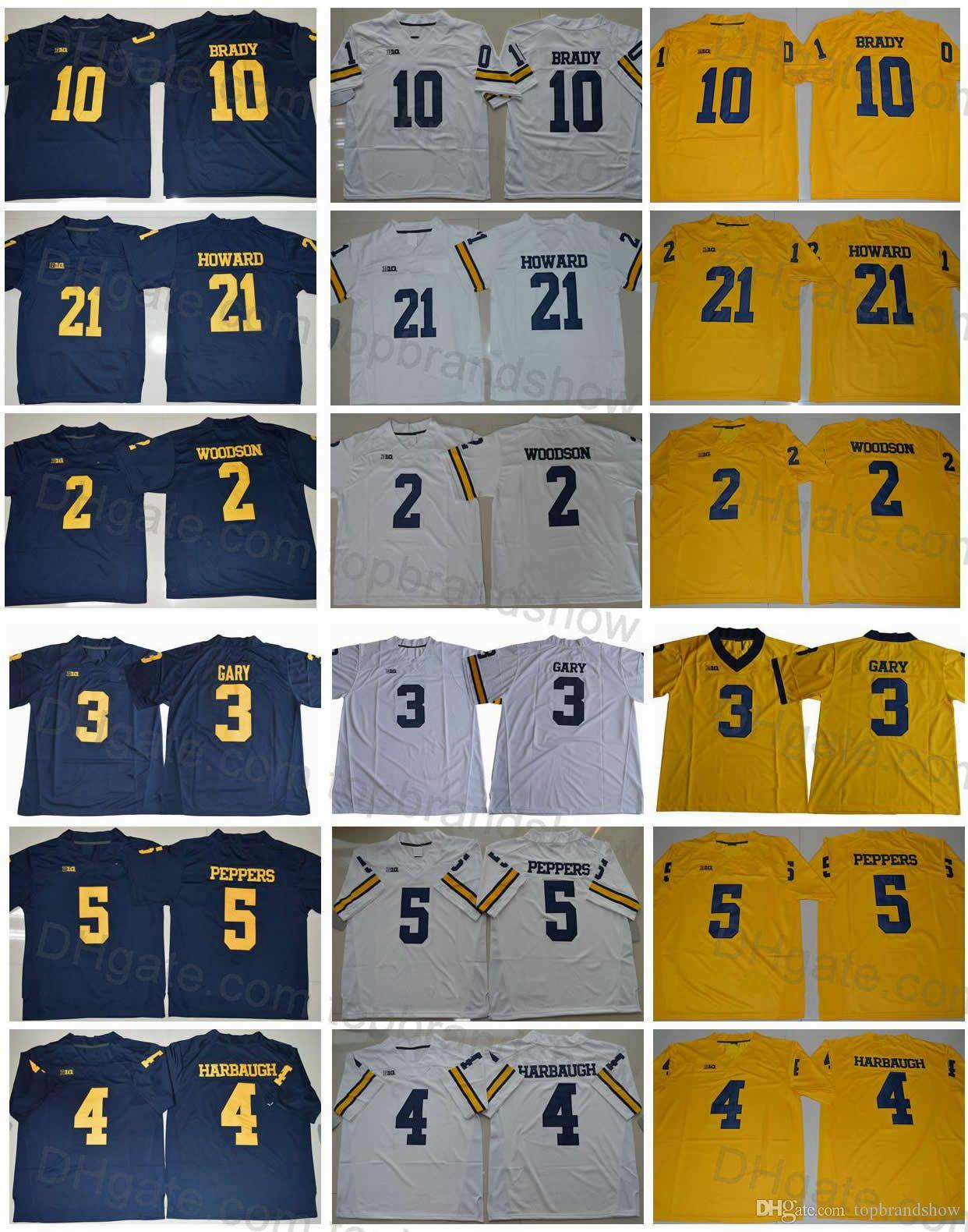 2019 Michigan Wolverines College Football Jersey 21 Desmond Howard 10 Tom  Brady 4 Jim Harbaugh 2 Charles Woodson 5 Jabrill Peppers 3 Rashan Gary From  ... 952e7594c