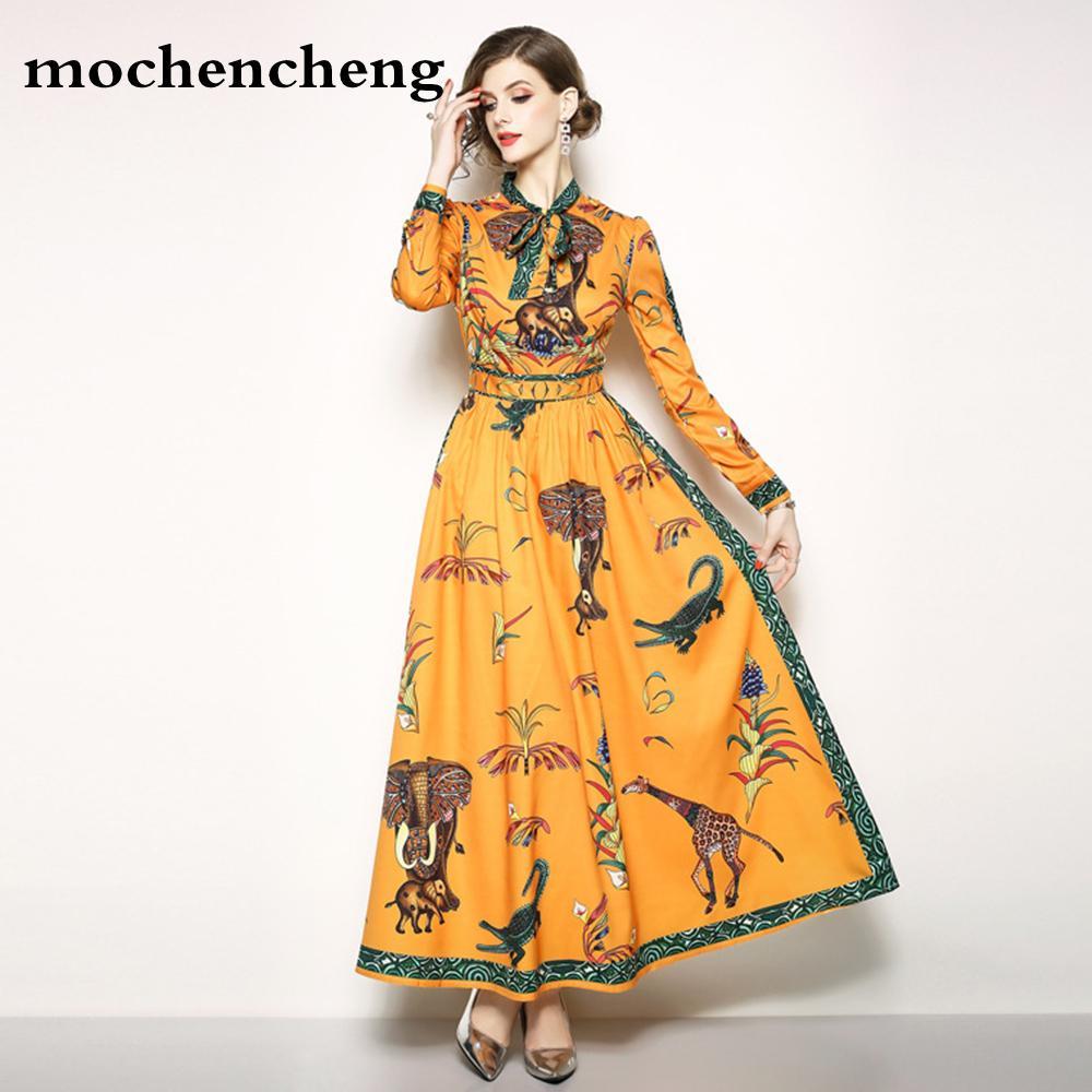d55a18bf31c 2019 Women Ethnic Long Dress Autumn 2019 Large Sizes 3XL Animal Floral Print  Orange Bow Expansion Elegant Lady Maxi Dresses Vestidos From Heymonster02