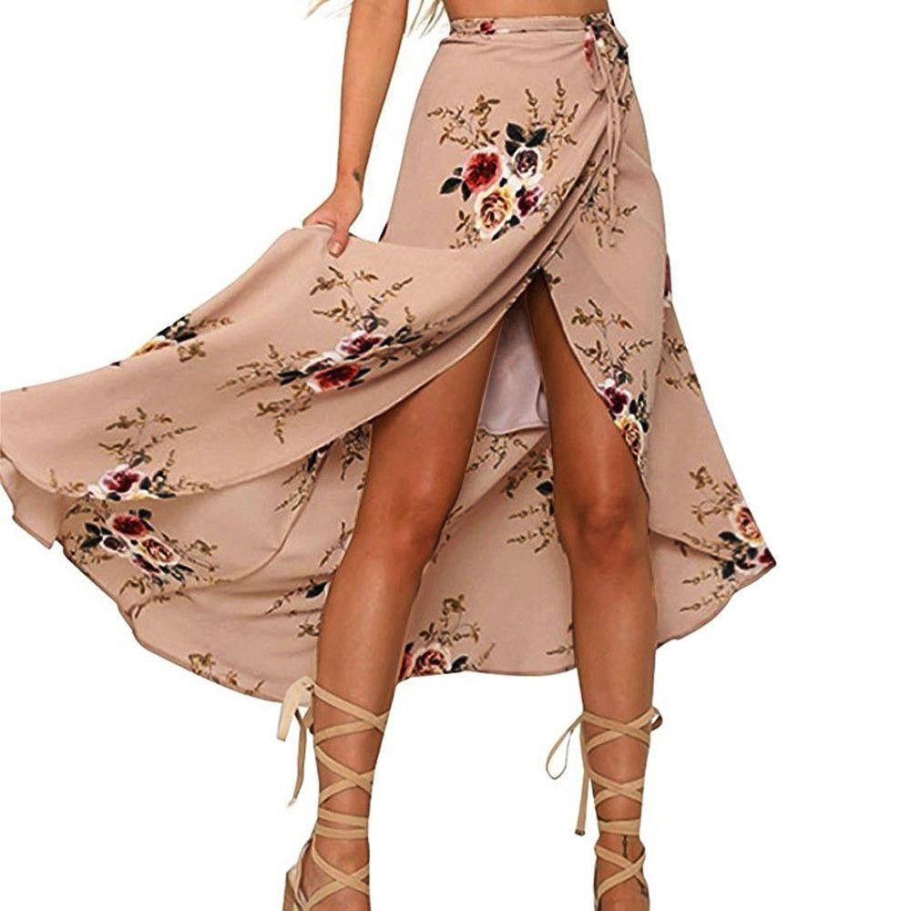 dd49db0a56 Compre Estampado Floral Vintage Faldas Largas Mujer Verano Elegante Playa  Maxi Falda De Cintura Alta Boho Falda Asimétrica Bohemia  SYS A  45.69 Del  Amandal ...