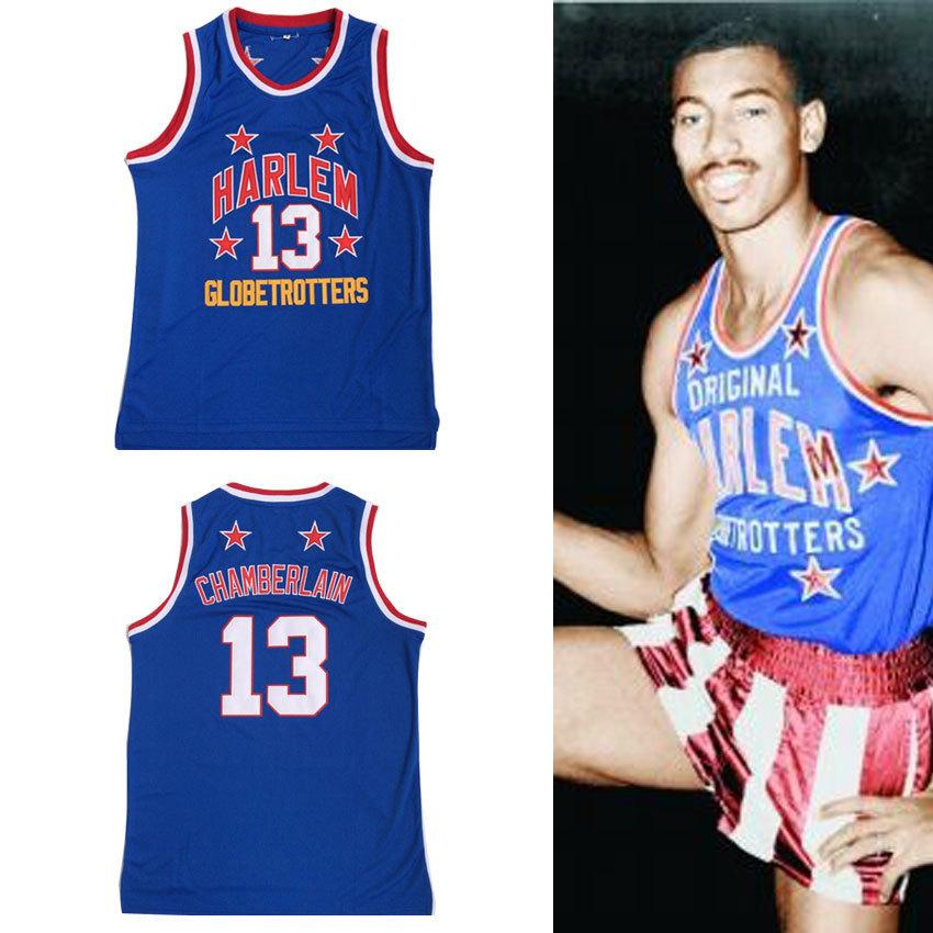 the best attitude b177e a4483 Mens #13 Wilt Chamberlain Harlem Globetrotters Cheap Throwback Basketball  Jersey Retro Jerseys Vintage Basket Embroidery Shirt Q190521