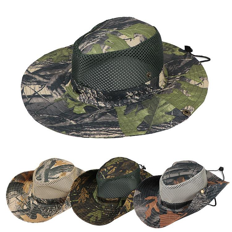 4c2040891 Boonie Hat Sport leaf Jungle Military Cap Adults Men Women Cowboy Wide Brim  Hats For Fishing Packable Army Bucket Hat AAA1946