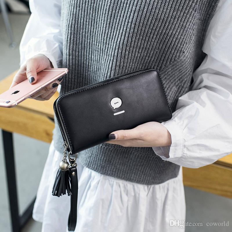New Design Wholesale Long Women Wallet Phone wristlet Ladies Clutch Long Purse with Wrist Strap Handbag