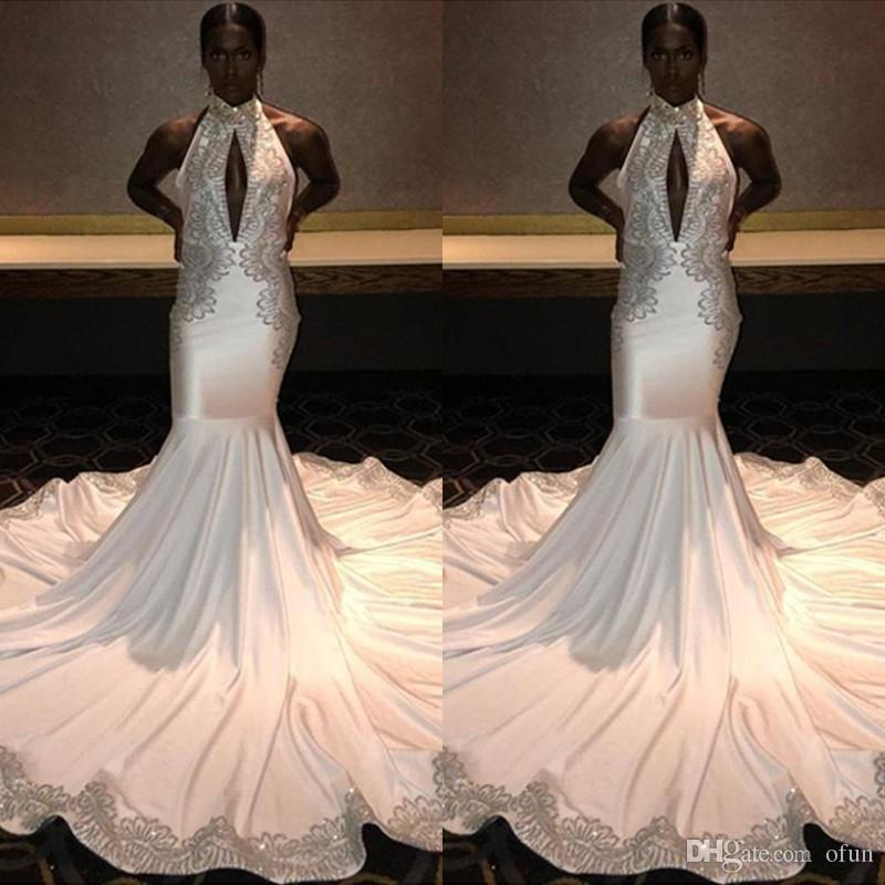 77d2423896c92 Charming White Long Black Girls Prom Dress Mermaid Appliques Formal Pageant  Holidays Wear Graduation Evening Party Gowns Custom Made Camouflage Prom  Dresses ...
