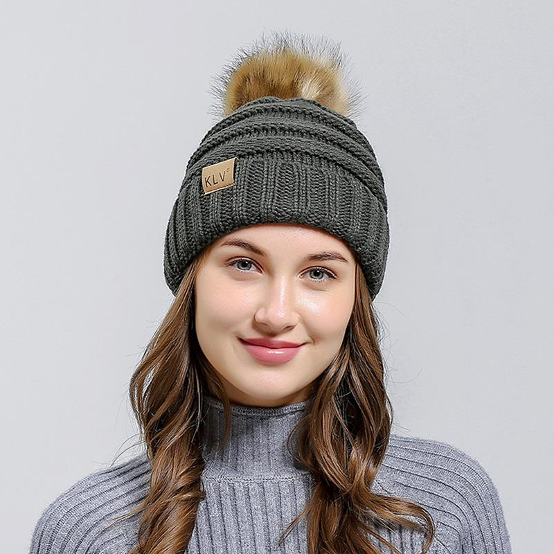 878ef76d052 2018 New Fashion Autumn Women Beanies Hot Sale Winter Warm Knitted Beanie  Pom Poms Wool Knitted Hat Hair Ball Solid Warm Beanies Baseball Hat Beach  Hats ...