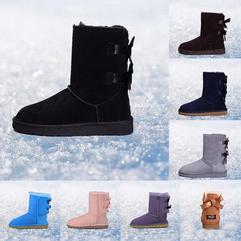 2019 Wholesale Designer Women Winter Snow Boots Fashion Australia Classic Half Short bow boots Ankle Knee Bowknot girl lady Boot free ship