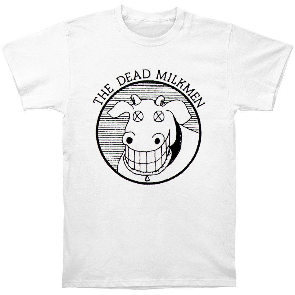 Dead Milkmen Mens Cow Logo Slim Fit T Shirt White Men Tshirt Short