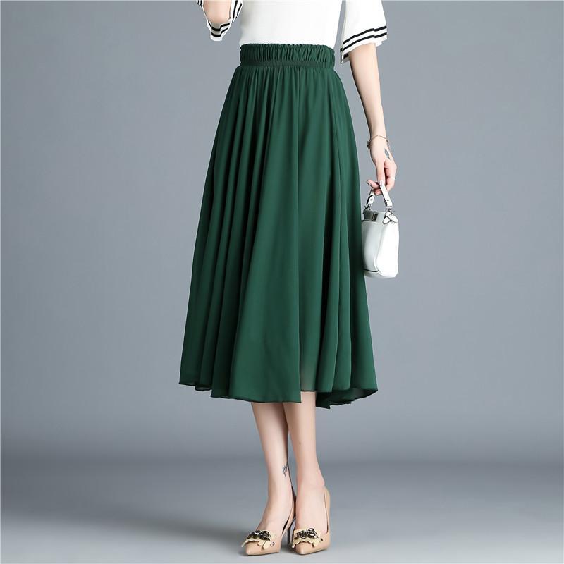 d0f815f2e Faldas largas plisadas ocasionales para mujer Verano Nueva moda Gasa Falda  larga Elástica blanca cintura alta Falda Oficina de mujeres elegante