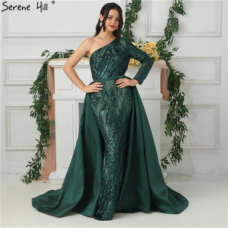 Green One Shoulder Long Sleeves Sequeined Evening Dresses Luxury Fashion Sexy With Train Evening Gowns 2019 Serene Hill La6619 Y19051401