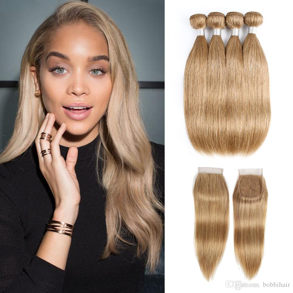 3/4 Bundles With Closure Human Hair Weaves Useful Ombre Bundles With Frontal Honey Peruvian Blonde Bundles With Closure 13*4 Remy Straight Hair Bundles With Frontal Free Shipping Cheap Sales